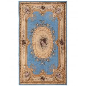 SILK FASHION σενίλ χαλί με μπλέ φόντο 115cm x 175cm σιέλ